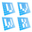 Abc letter symbol plates made of blue cubes isolated — Stockfoto