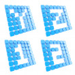 Abc letter symbol plates made of blue cubes isolated — 图库照片