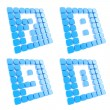 Number symbol plates made of blue cubes isolated - Stock Photo