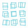 Cube carcass framework in nine foreshortenings isolated — Stock Photo