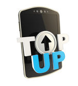 Top-up emblem icon over smart mobile phone concept — Stok fotoğraf
