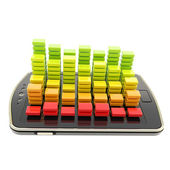 Statistical data over smart phone screen surface isolated — Stock Photo