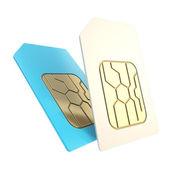 Doppelte telefon-sim-karten mit schaltung mikrochips isoliert — Stockfoto