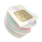 Verdrehte haufen von handy-sim-karten mit schaltung mikrochips — Stockfoto