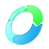 Vier glänzende pfeil exemplar emblem circlular runde tag — Stockfoto
