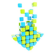 Segmented glossy arrow made of blue and green cubes — Stock Photo
