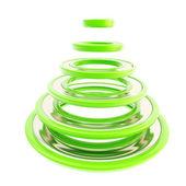 Christmas tree made of green futuristic rings — Stock Photo