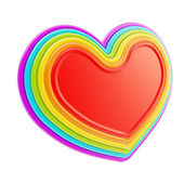 Heart symbol shape made of six rainbow colored layers — Stock Photo