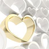 Glanzende gouden hart onder degenen achtergrond wit — Stockfoto