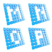 Abc letter symbol plates made of blue cubes isolated — Stock Photo
