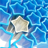 Silver extruded star among blue ones as background — Stock Photo