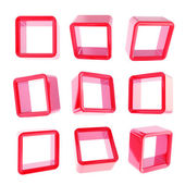Copyspace cube square shelf boxes isolated — Stock Photo
