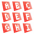 Abc letter symbol plates made of red cubes isolated — 图库照片
