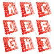Abc letter symbol plates made of red cubes isolated — ストック写真