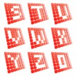 Abc letter symbol plates made of red cubes isolated — Stockfoto