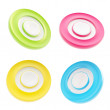 Set of four copyspace round circle buttons isolated — Stock Photo