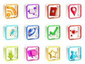 Мобильные приложения значок приложения эмблемы изолированные — Стоковое фото