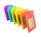 Row of SIM cards with circuit microchips isolated — Stock Photo