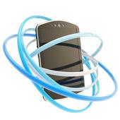 Concetto di telefono intelligente circondato con anelli isolati — Foto Stock