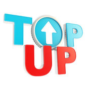 Top-up emblem icon with up arrow coin — Stock Photo