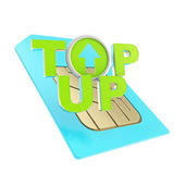 Top-up emblem icon over sim card chip microcircuit — Stock Photo
