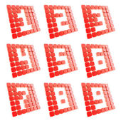 Number symbol plates made of red cubes isolated — Stock Photo