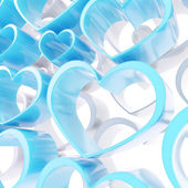 Abstract love background of white and blue heart shapes — Stock Photo