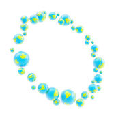 Round circle frame made of earth spheres — Stock Photo