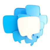云计算的语音文本泡沫作为孤立的 copyspace 板 — 图库照片