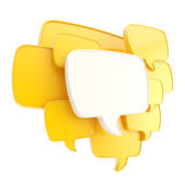 Cloud of speech text bubbles as copyspace plate isolated — Stock Photo