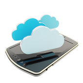 Cloud emblems over pad mobile phone concept isolated — Stock Photo