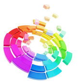 Color range spectrum palette broken into pieces isolated — Stock Photo