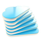 Stack of cloud shaped hdd server components — Stock Photo