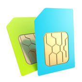 Dounble phone SIM cards with circuit microchips isolated — Stock Photo