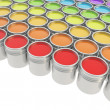 Buckets full of paint over white background - Stock Photo