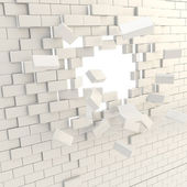 Broken into pieces brick wall with a copyspace hole — Stock Photo