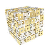 Dimensional cube made of ones and zeros isolated on white — Stock Photo