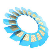Circuit microchip SIM card round emblem isolated — Stock Photo