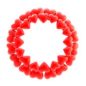 Round photo picture frame made of hearts isolated — Stock Photo