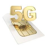 5G circuit microchip SIM card emblem isolated — Stock Photo