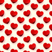Seamless glossy red heart background pattern — Stock Photo