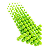 Arrow emblem icon made of spheres isolated — Stock Photo