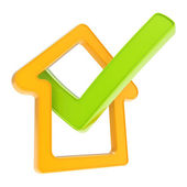 Checked house emblem with yes tick icon inside — Stock Photo