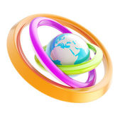 Earth globe emblem inside the ring torus isolated — Stock Photo