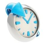 Arrow around the clock emblem isolated on white — Stock Photo