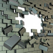 Broken into pieces brick wall with copyspace hole — Stock Photo #13907537