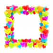 Square photo frame made of hearts isolated — Stock Photo