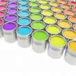 Buckets full of paint over white background — Stock Photo