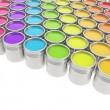 Buckets full of paint over white background — Stock fotografie