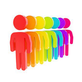 Rainbow colored human figure emblems isolated — Stock Photo